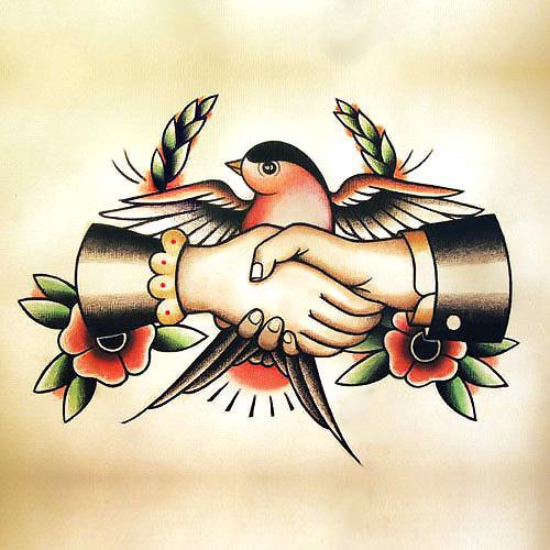 Swallow Handshake Tattoo Design