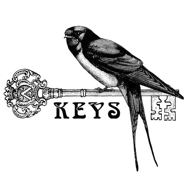 Swallow on Key Tattoo Design