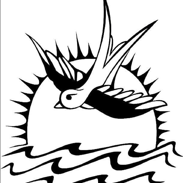 Swallow on Sun Tattoo Design