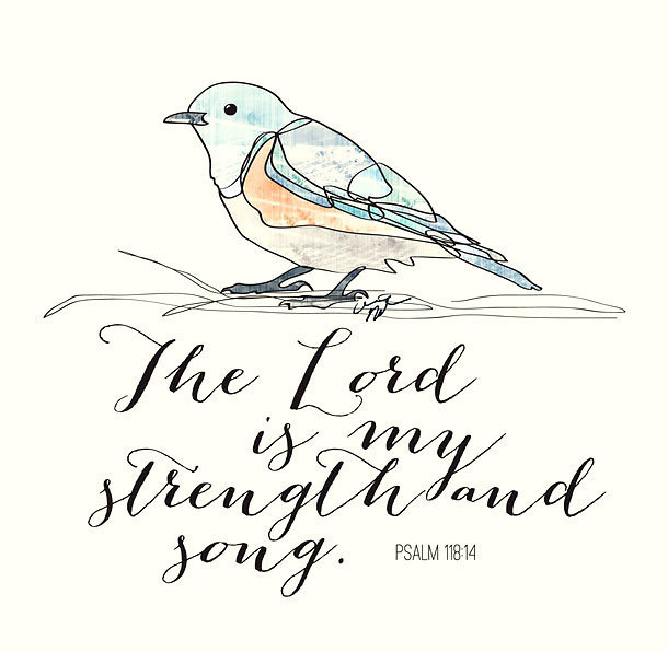 The Lord Is My Strength and Song Tattoo Design