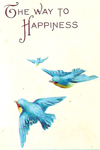The Way To Happiness Bluebirds Tattoo Design