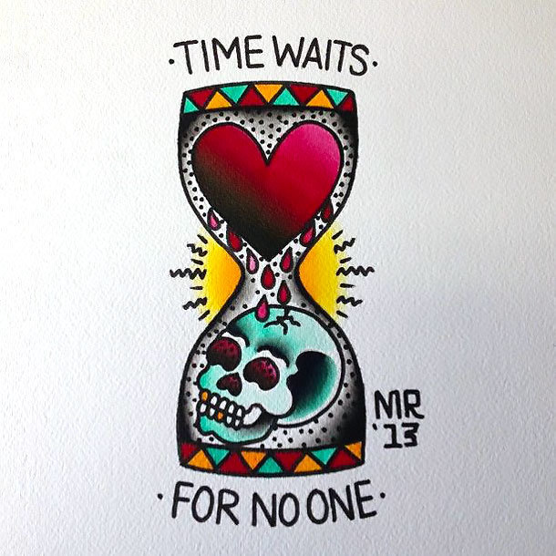 Time Waits for No one Tattoo Design