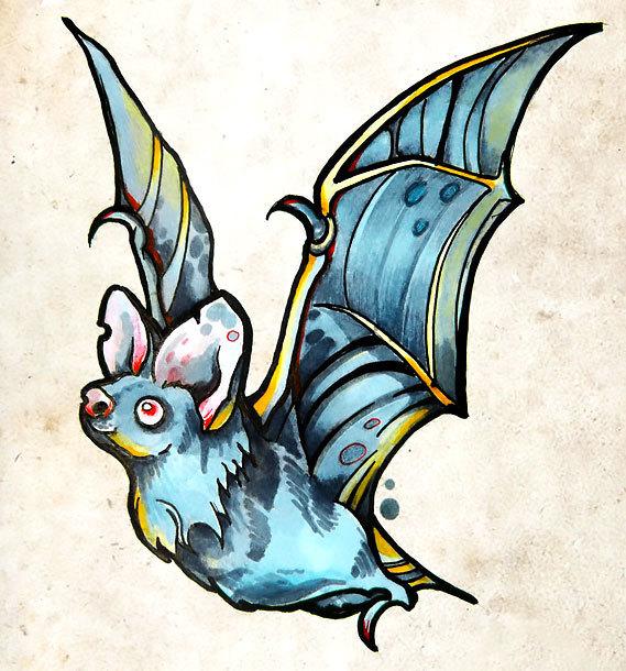 Traditional Bat Tattoo Design