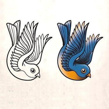Traditional Bluebird Tattoo