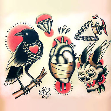 Traditional Crow Tattoo