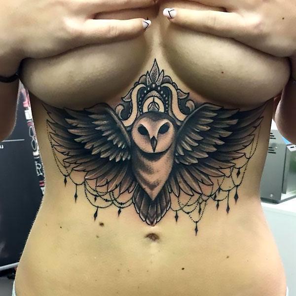 Best Under Breast Owl Tattoo Idea