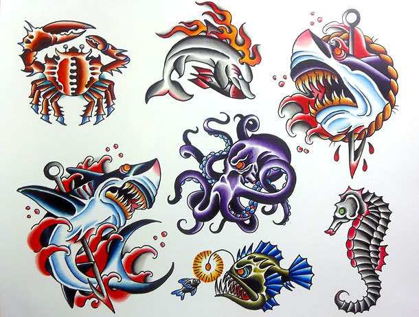 Traditional Ocean Inhabitants Tattoo Design