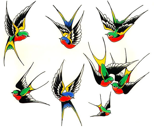 Traditional Swallows Tattoo Design