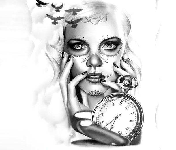 Great Muerte Watch Tattoo Design