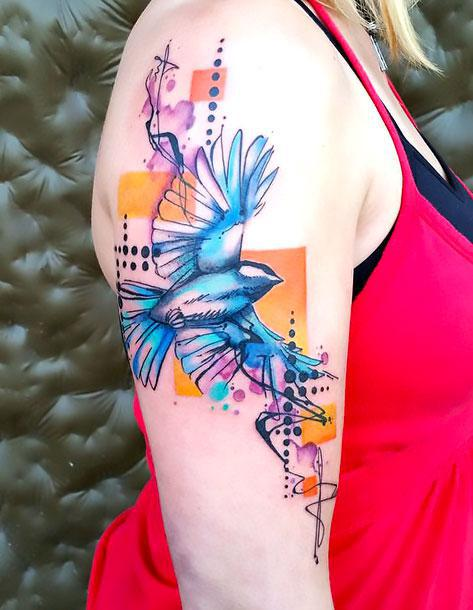 Best Watercolor Bluebird Tattoo Idea
