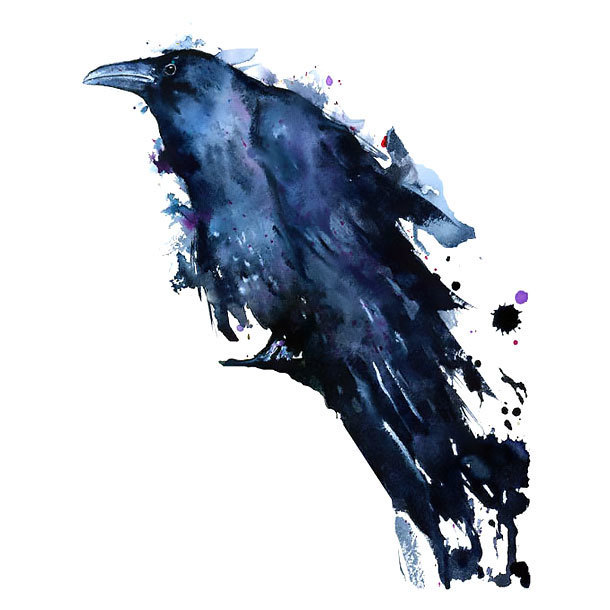 Great Watercolor Raven Tattoo Design