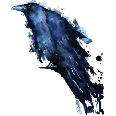 Great Watercolor Raven Tattoo