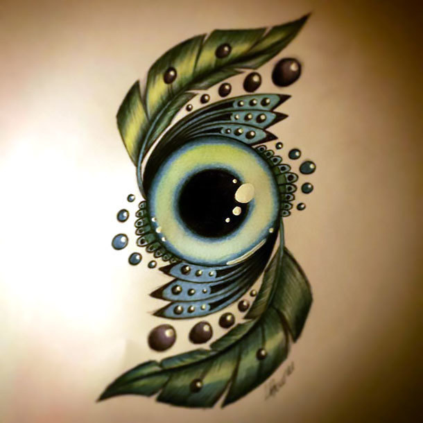 Green Eye Tattoo Design