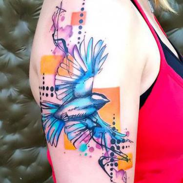 Best Watercolor Bluebird Tattoo