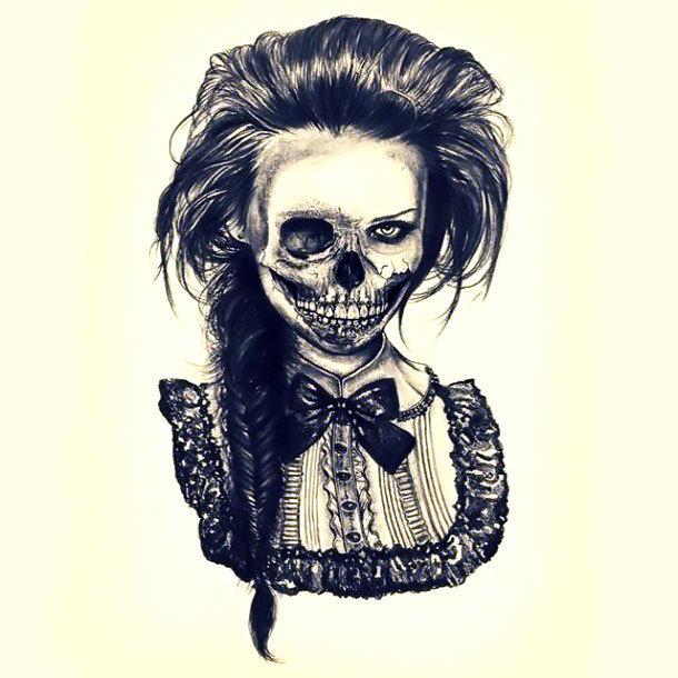 Half Skulled Face Tattoo Design