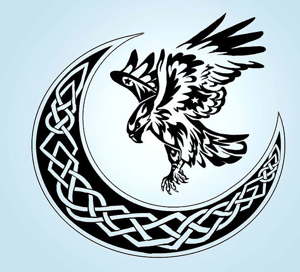 Hawk and Celtic Moon Tattoo Design