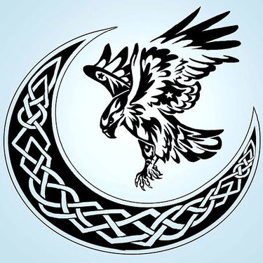 Hawk and Celtic Moon Tattoo