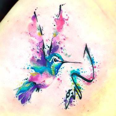 Best Watercolor Hummingbird Tattoo