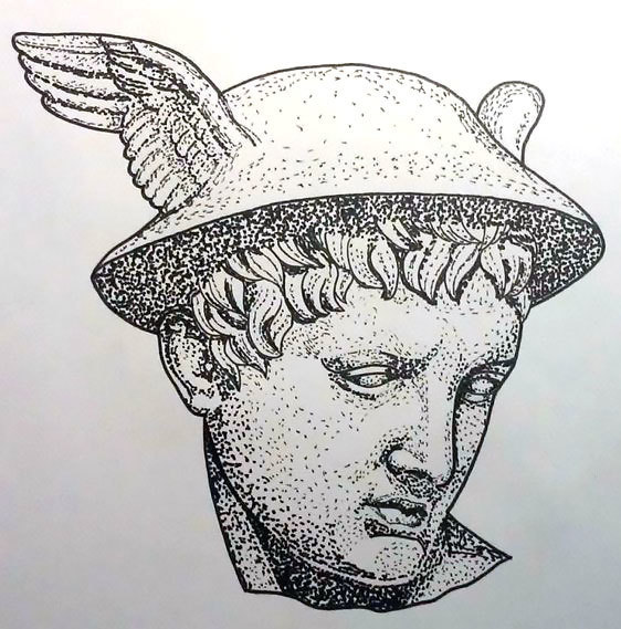 Hermes Dotwork Tattoo Design