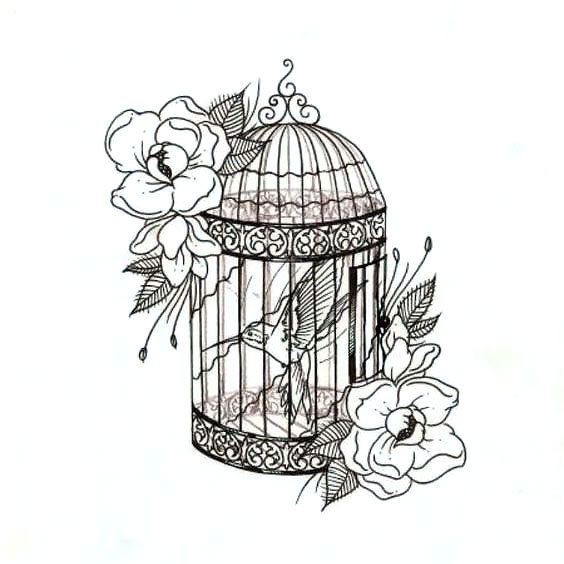 Hummingbird In Birdcage Tattoo Design