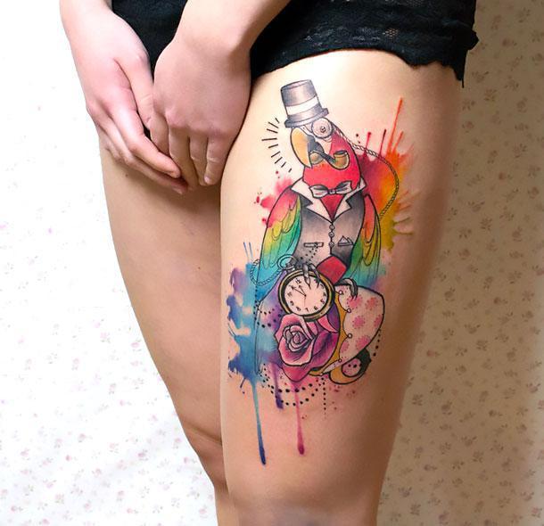 Best Watercolor Parrot Tattoo Idea