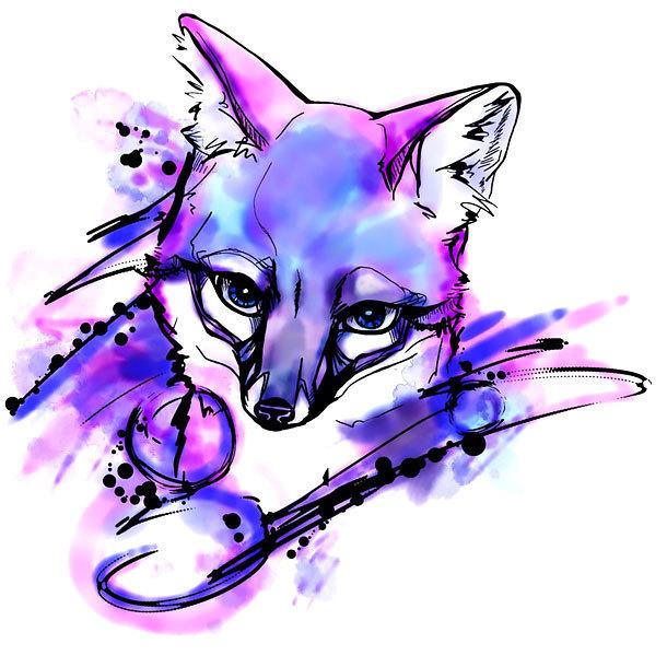 Impressive Watercolor Fox Tattoo Design
