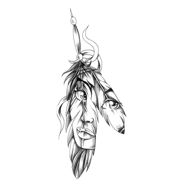 Indian Feather Girl Tattoo Design