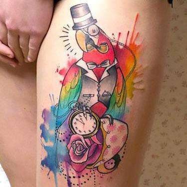 Best Watercolor Parrot Tattoo