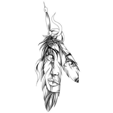 Indian Feather Girl Tattoo