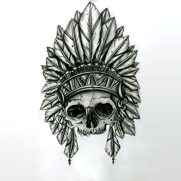Indian Feather Skull Tattoo Design