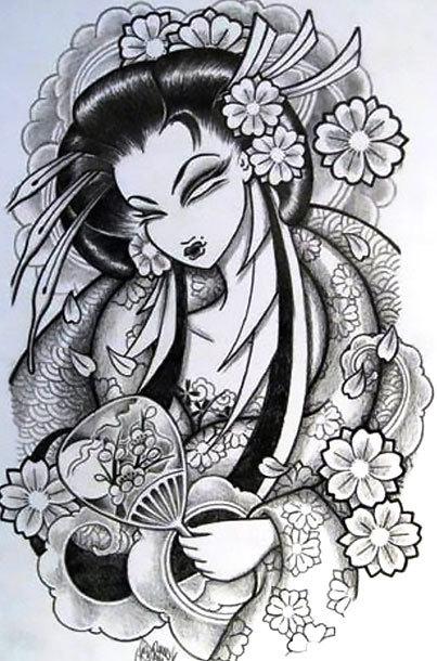 Japanese Girl Tattoo Design