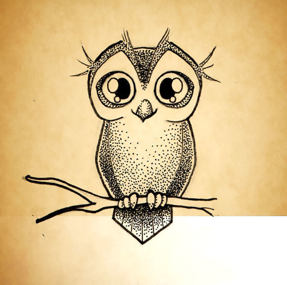Little Owl Dotwork Tattoo Design