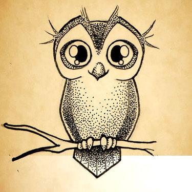 Little Owl Dotwork Tattoo