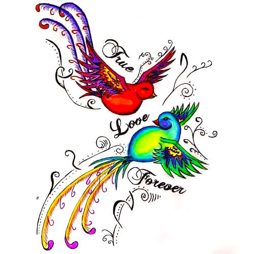 Love forerver Birds Tattoo Design
