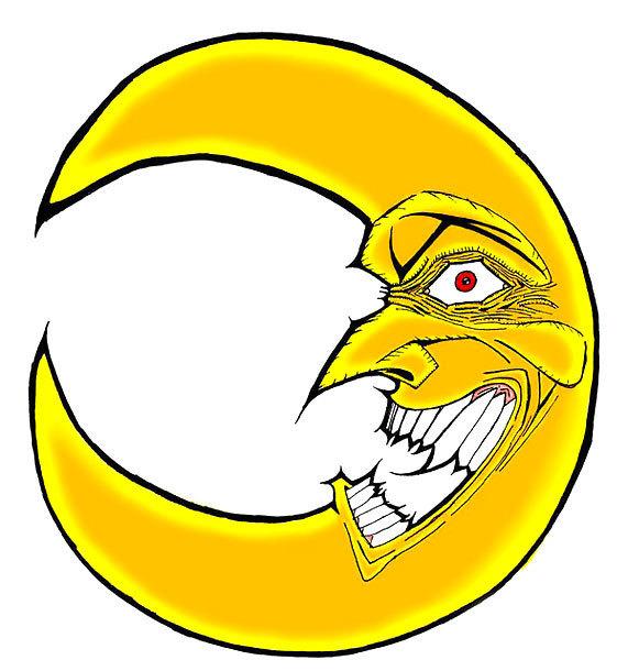 Mad Yellow Moon Tattoo Design