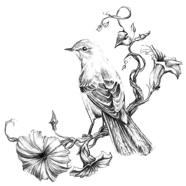 Mockingbird on Flowers Tattoo Design