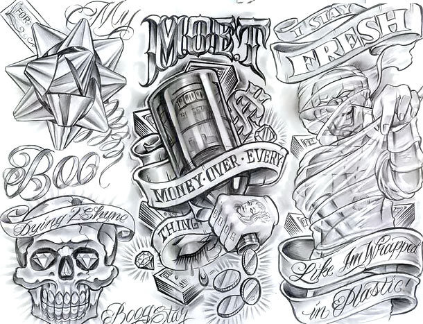 Money Over Everything Tattoo Design