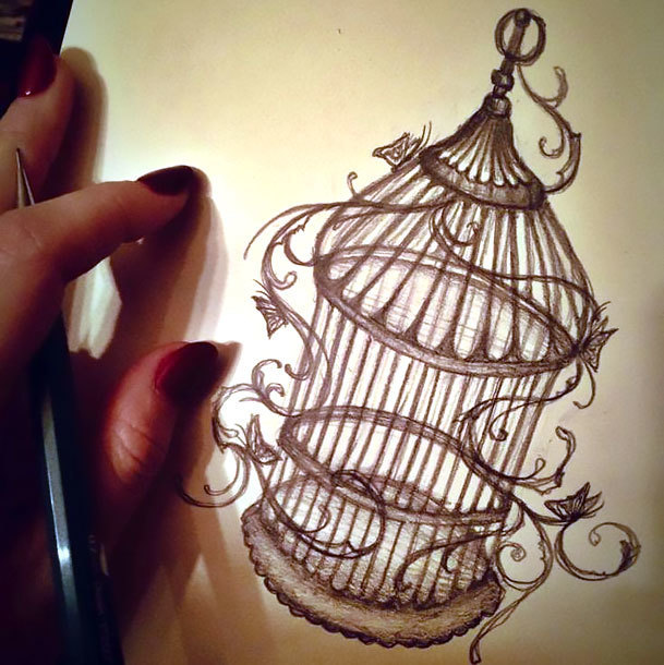 Mysterious Birdcage Tattoo Design