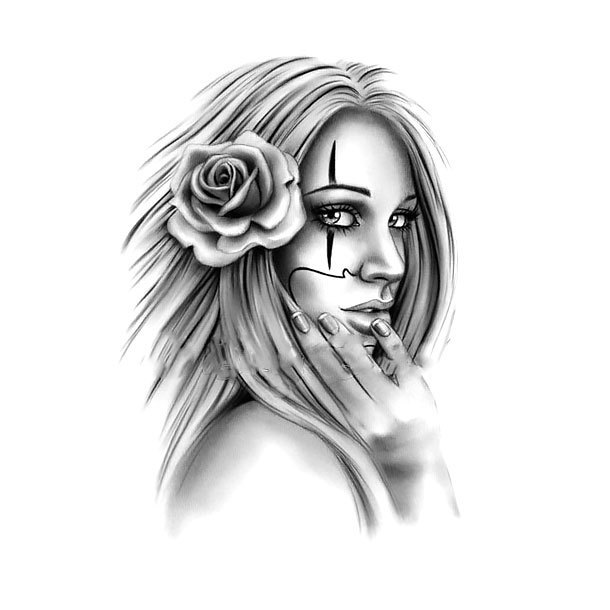 Mysterious Girl Tattoo In Chicano Style Tattoo Design