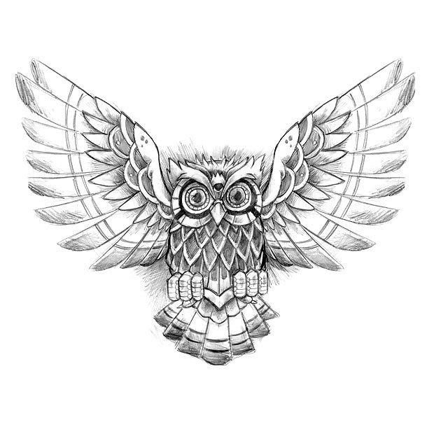 Mystic Owl Tattoo Design