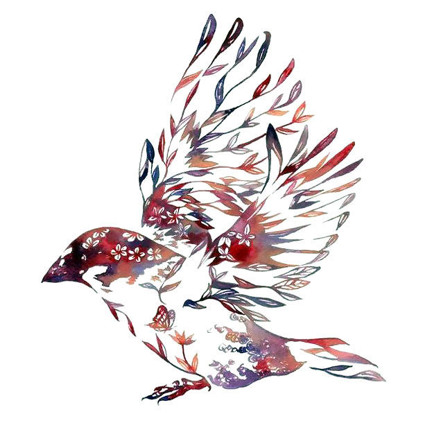 Nature Sparrow Tattoo Design