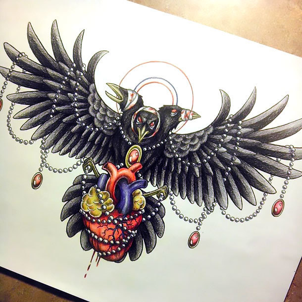 Neo Traditional Crow Tattoo Design