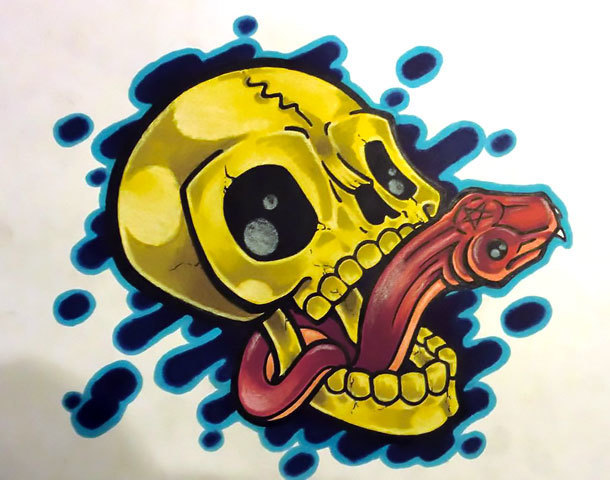 Neo Traditional Snake In Skull Tattoo Design