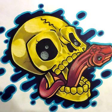 Neo Traditional Snake In Skull Tattoo