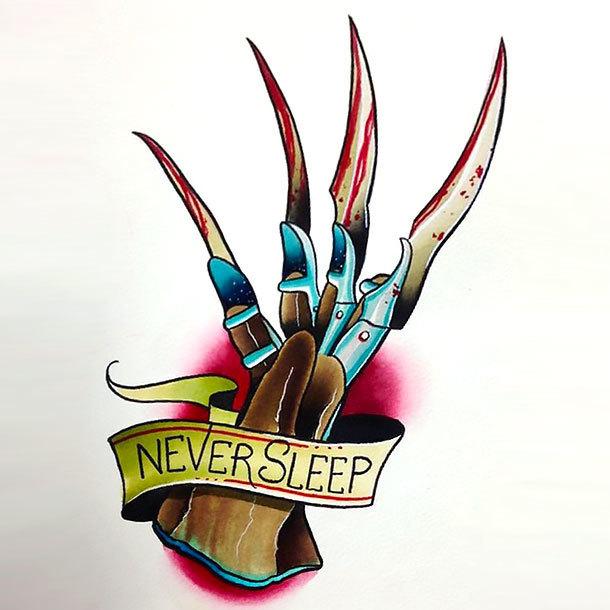 Never Sleep Tattoo Design