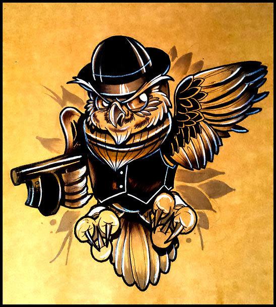 New School Owl Gangster Tattoo Design