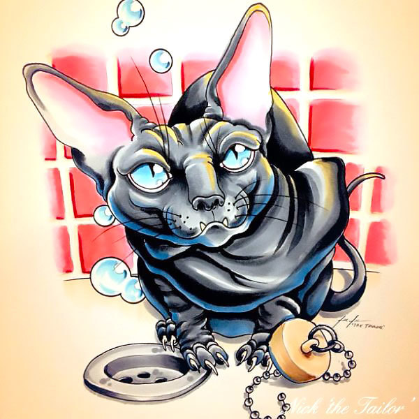New School Sphynx Cat Tattoo Design