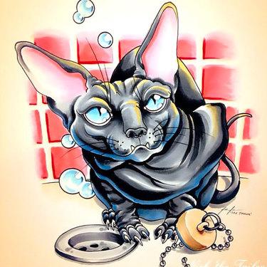 New School Sphynx Cat Tattoo