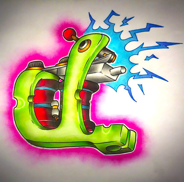 New School Tattoo Machine Tattoo Design