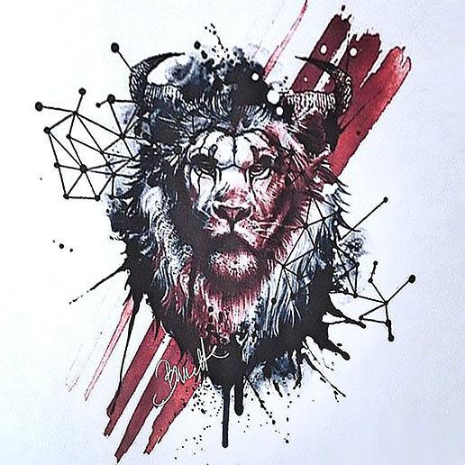 Trash Polka Lion Tattoo Design